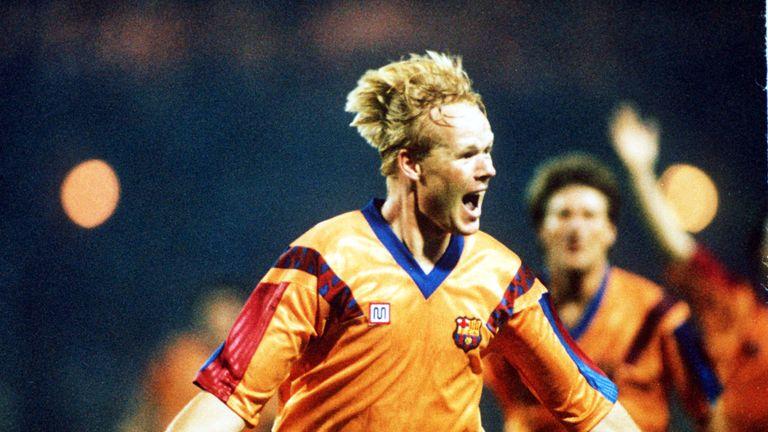 Ronald Koeman celebrates after scoring for Barcelona in the 1992 European Cup Final against Sampdoria