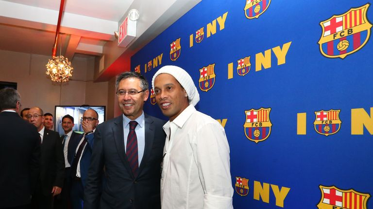 Barcelona president Josep Maria Bartomeu was joined by Ronaldinho at the club's US office opening