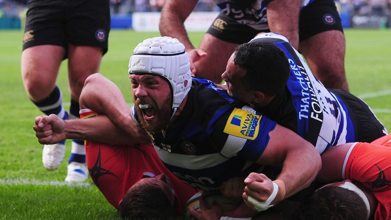Dave Attwood celebrates his second try against Newcastle Falcons