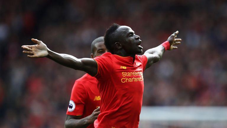 Sadio Mane celebrates scoring Liverpool's third against Hull