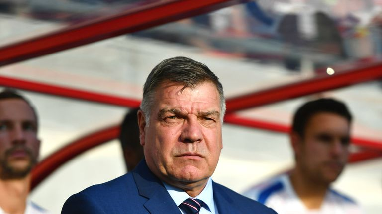 Sam Allardyce looks on prior to the 2018 FIFA World Cup qualifyer between Slovakia and England