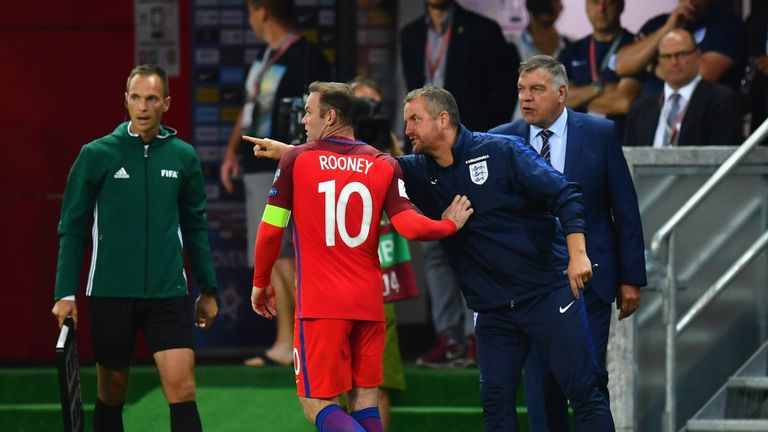 Martyn Margetson goalkeeping coach of England and Sam Allardyce manager of England give instructions to Wayne Rooney