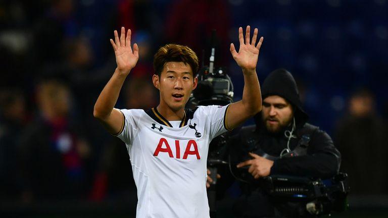 Son Heung-min celebrates Tottenham's win