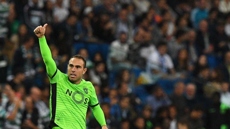 Sporting's Brazilian midfielder Bruno Cesar celebrates their opener against Real Madrid