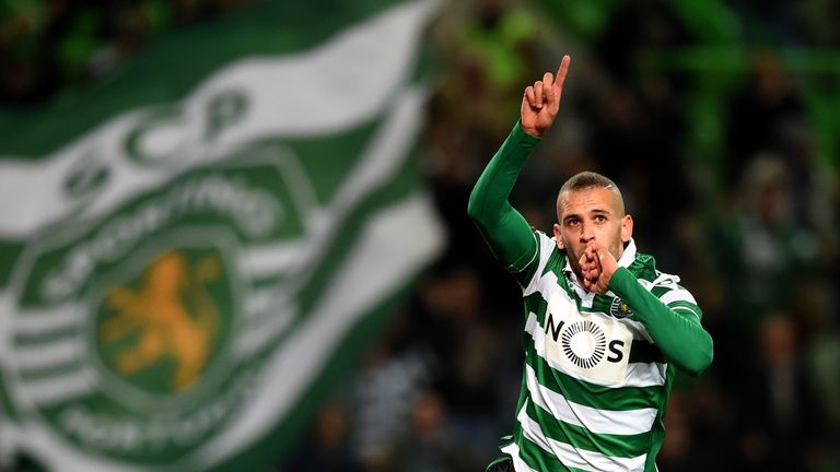 Sporting's Islam Slimani celebrates after scoring the opening goal during the Portuguese League football match against Porto in January 2016