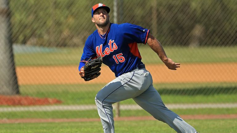 Tebow took part in batting practice and fielding drills on Monday