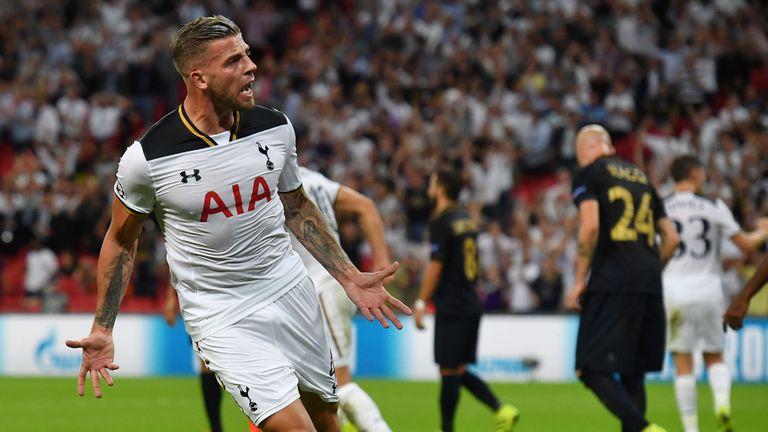 Tottenham Hotspur defender Toby Alderweireld celebrates after pulling a goal back