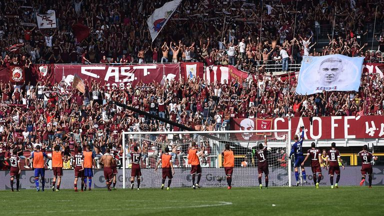 Torino players salute their fans on Sunday