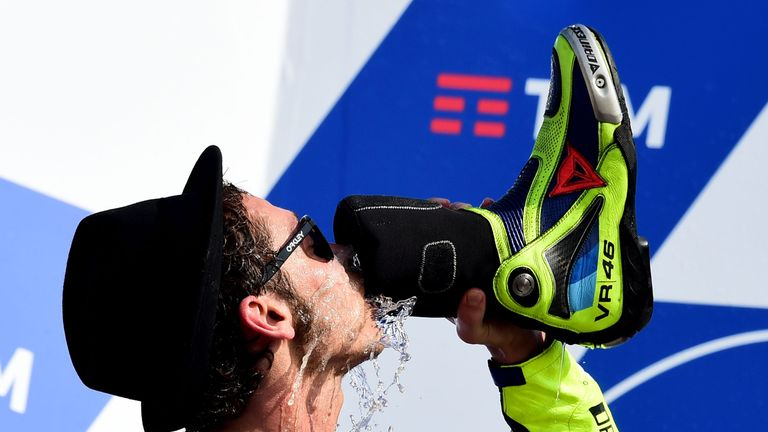 Moto GP star Valentino Rossi performed the 'shoey' after finishing second in Italy