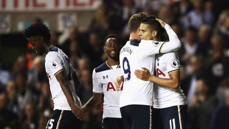 Erik Lamela celebrates with Vincent Janssen