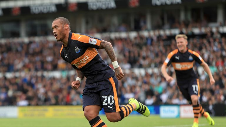 Newcastle United's Yoan Gouffran celebrates scoring his side's first goal of the game during the Sky Bet Championship match at the iPro Stadium, Derby