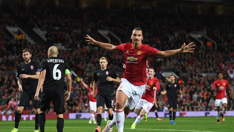 MANCHESTER, ENGLAND - SEPTEMBER 29:  Zlatan Ibrahimovic of Manchester United celebrates after scoring the opening goal during the UEFA Europa League group