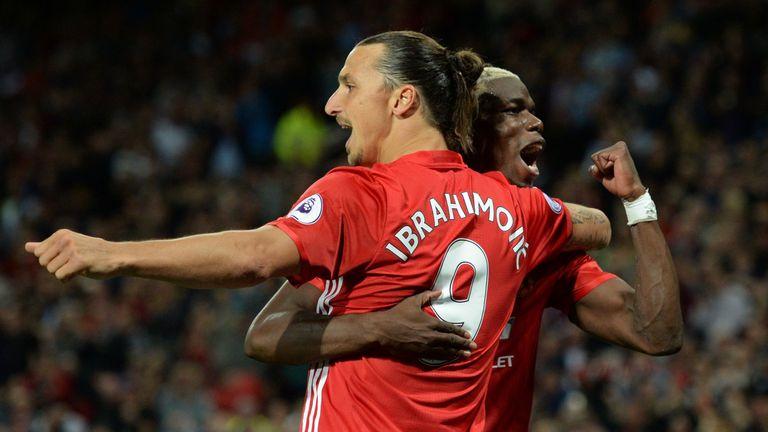Zlatan Ibrahimovic celebrates with Paul Pogba