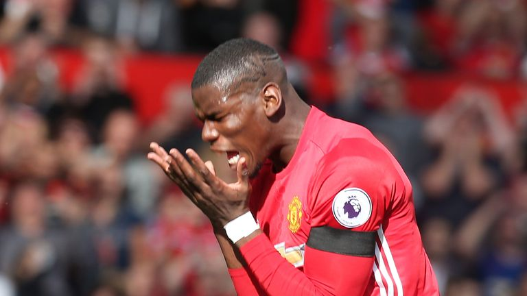 Paul Pogba missed chances to score against Stoke as Manchester United drew 1-1