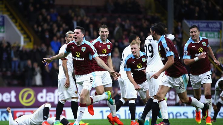 BURNLEY, ENGLAND - SEPTEMBER 26:  Michael Keane of Burnley celebrates scoring his sides second goal during the Premier League match between Burnley and Wat