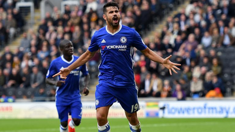 Diego Costa of Chelsea celebrates scoring at Hull in the sides' Premier League clash