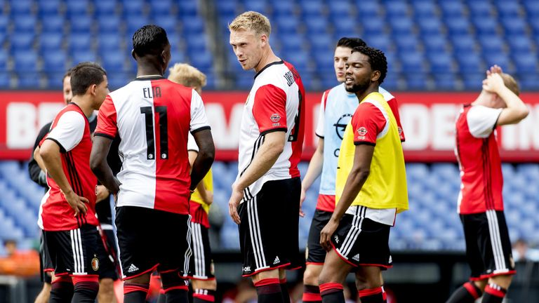 Danish Nicolai Jorgensen (C) of Feyenoord talks to his teammates during the first training of Feyenoord of the new football season in The Kuip Stadium, Rot
