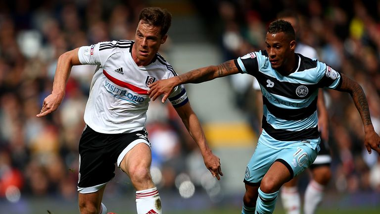 Scott Parker of Fulham holds off Tjaronn Chery of QPR