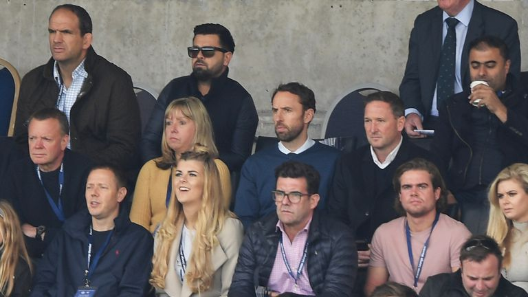 Gareth Southgate watches the game from the stands ahead of naming his first England squad