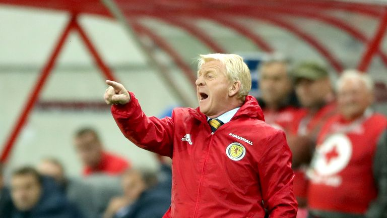 Scotland manager Gordon Strachan watched his side lose 3-0 to Slovakia