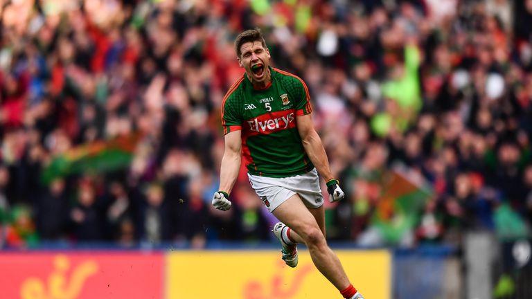 Lee Keegan of Mayo celebrates after scoring Mayo's goal during the GAA Football All-Ireland Senior Championship Final replay