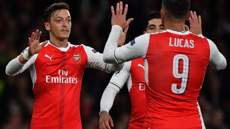 Mesut Ozil celebrates