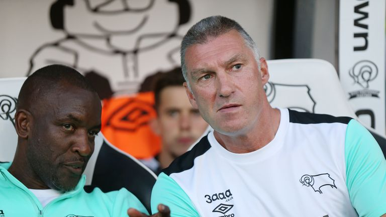 Derby County's manager Nigel Pearson and his assistant Chris Powell during the game against Carlisle United