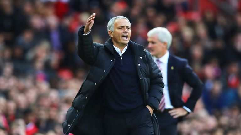 Jose Mourinho reacts during the game against Stoke City at Old Trafford