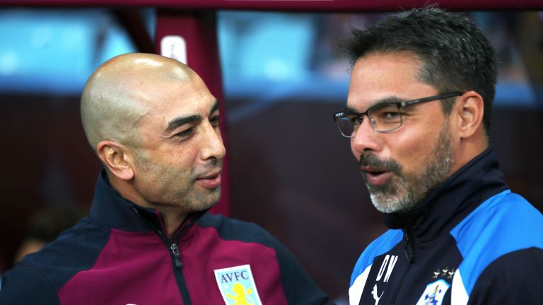 Roberto Di Matteo and David Wagner during the Sky Bet Championship match at Villa Park