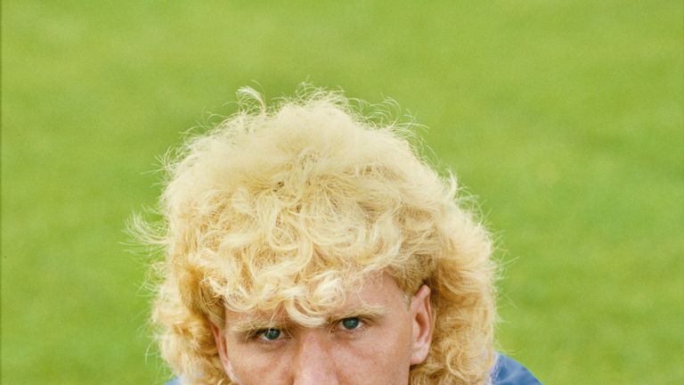 Portsmouth player Scott McGarvey sporting a popular haircut for the period pictured at a pre season photo call circa 1984