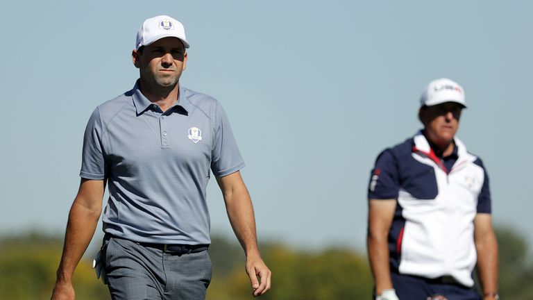Sergio Garcia and Phil Mickelson posted a combined record number of birdies for a Ryder Cup singles match
