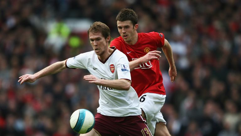 Alex Hleb, pictured with Manchester United's Michael Carrick, left Arsenal in 2008