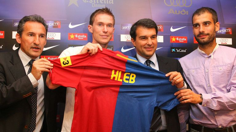 Hleb's 2008 move to Barcelona did not work out under Pep Guardiola (far right)