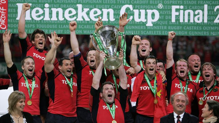 The late Anthony Foley lifts the Heineken Cup in 2006, while O'Callaghan celebrates (top left)