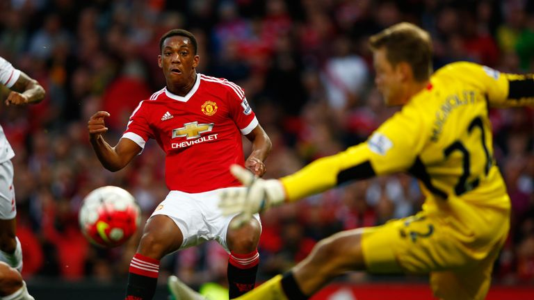 Anthony Martial scores on his Manchester United debut