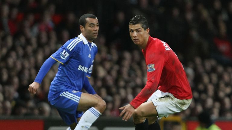 Cristiano Ronaldo of Manchester United clashes with Ashley Cole of Chelsea on January 11 2009