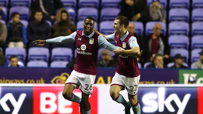 Jonathan Kodjia of Aston Villa is congratulated by team mate Gary Gardener after scoring against Reading