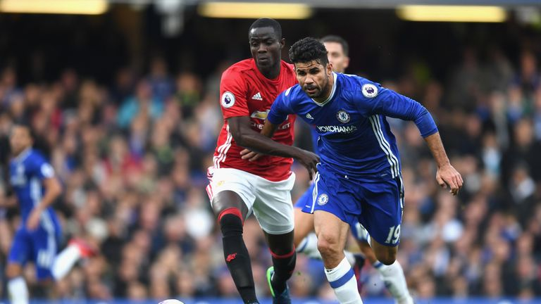 Eric Bailly of Manchester United closes down Diego Costa