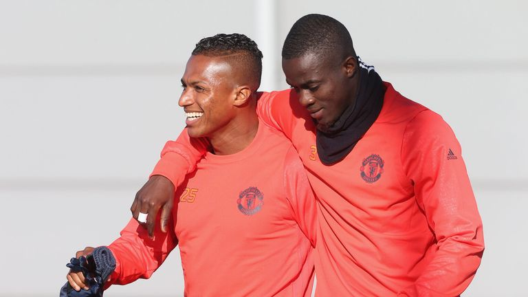 Antonio Valencia and Eric Bailly looked in good spirits ahead of the Europa League tie