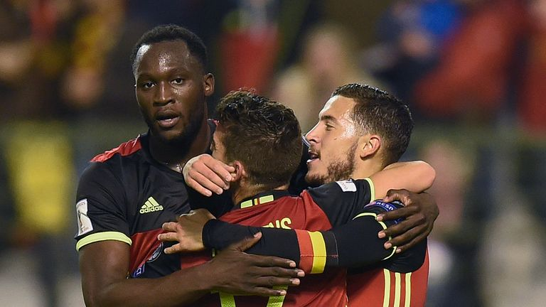 Belgium's Eden Hazard (R) celebrates with teammates after scoring during the Fifa WC 2018 football qualification match between Belgium and Bosnia and Herze