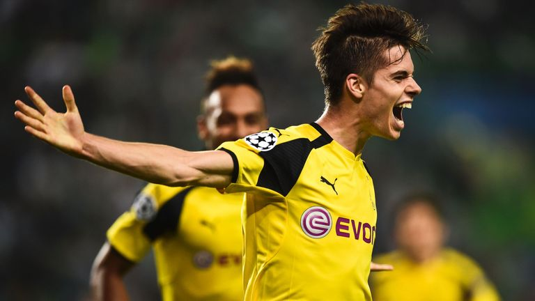 Dortmund's Julian Weigl celebrates after scoring against Sporting in the Champions League