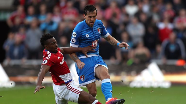 Charlie Daniels of AFC Bournemouth (R) is tackled by Adama Traore of Middlesbrough (L)