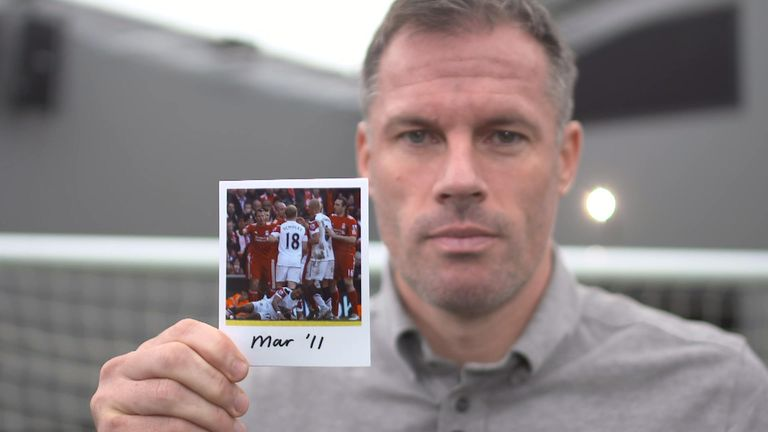 Jamie Carragher holds March 2011 picture