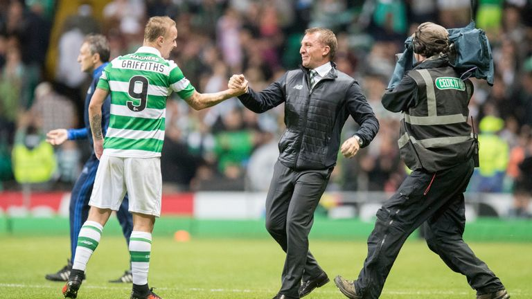 Leigh Griffiths of Celtic celebrates a goal with manager Brendan Rodgers