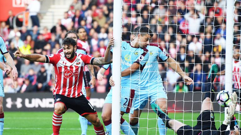Charlie Austin scores Southampton's first goal in the 3-1 win over Burnley