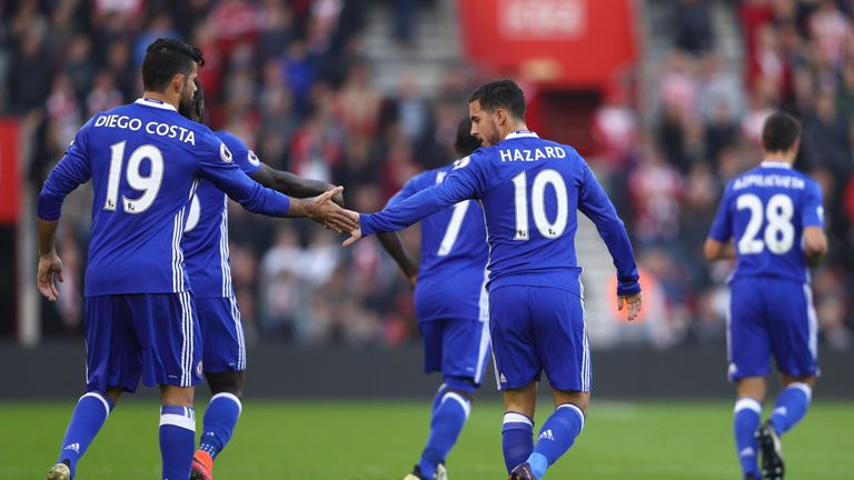 SOUTHAMPTON, ENGLAND - OCTOBER 30: Eden Hazard of Chelsea (R) celebrates scoring his sides first goal wth Diego Costa of Chelsea (L) during the Premier Lea