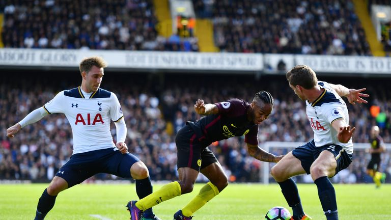 Christian Eriksen and Jan Vertonghen close down Raheem Sterling