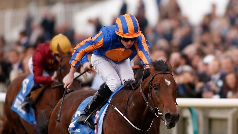 Ryan Moore riding Chruchill win the Dubai Dewhurst at Newmarket