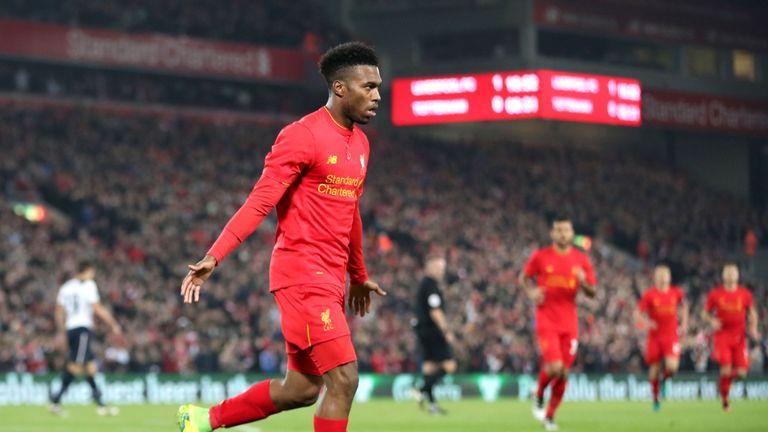 Liverpool's Daniel Sturridge celebrates scoring his side's first goal of the game