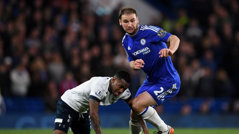 LONDON, ENGLAND - MAY 02:  Danny Rose of Tottenham Hotspur and Branislav Ivanovic of Chelsea battle for the ball during the Barclays Premier League match b